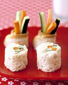 These clever sushi-look-a-like sandwiches will not only entice your kids to eat their veggies but they'll feel sophisticated and grown-up eating their own version of the popular Japanese dish.    Try using whole-wheat bread for a healthier alternative and swap the veggies with some fruit and peanut butter for a sweet treat. For more creative ideas for kids lunches visit https://www.facebook.com/SchoolLunchIdeas you may find something you 'LIKE'