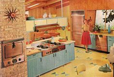 Living the dream in the 1950's! And....not a bad dream to have an oven in a brick wall - even today.
