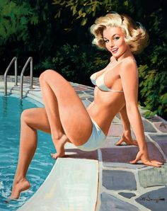 At the pool; illustration by Arthur Sarnoff, c. 1960's.
