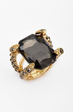 black crystal and gold ring