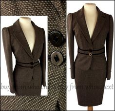 44 Next Size 10 12 40's Vintage pencil skirt suit brown wool tweed eu 38/40  #Next #SkirtSuit #Business