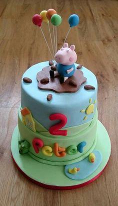 George Pig tiered birthday cake