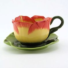 Mustardseed & Moonshine Tea Cup & Saucer - Daylily Slow Burn, $99