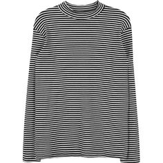 Horizontal Stripes Shirt ($83) ❤ liked on Polyvore featuring tops, sweaters, jumper, shirts, loose long sleeve shirt, long-sleeve shirt, horizontal striped shirt, striped shirts and turtle top