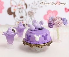 1:12 scale Miniature dollhouse Mickey Mouse Cake, Blueberry Grapes Ice Cream Sorbet, Doll Fake Food, Purple High Tea Party Set, Kawaii Cute doll fake food, Dolls Miniatures, cake shop, pastries, patisserie, handmade miniatures, flowers