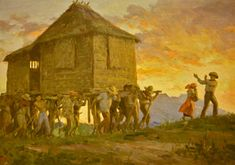 The love and way of reaching out to neighbors in their need of relocation or resettling. BAYANIHAN Filipino tradition Painting by Fernando Amorsolo Filipino Art, Filipino Culture, Philippine Art, Philippines Culture, Painter Artist, Great Paintings, Famous Art, Artists Like, History