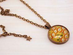 """Sautoir """"Origami"""" cabochon bronze avec papier japonais - jaune moutarde rouge beige vert - : Collier par crea-sica"""