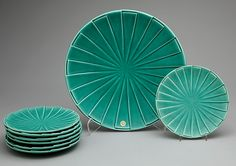 ASSIETTER, 7 st, samt FRUKTFAT, keramik, Bo Fajans, Gefle, 1900-talets mitt.