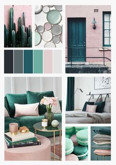 I recently moved into an apartment! Being a designer, the first thing I did after putting my deposit down was to plan my colour palette. Blush And Grey Living Room, Mint Living Rooms, Teal Rooms, Living Room Green, Living Room Decor, Dining Room, Teal Room Decor, Mint Decor, Colorful Interior Design