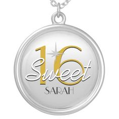 Sweet 16 Silver/Gold Sparkle Personalized Jewelry