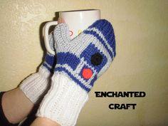 la main tricot STAR WARS R2-D2 Fingerless Gloves par EnchantedCraft