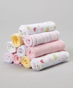 Look what I found on #zulily! Pink Flower & Heart Washcloth Set by SpaSilk #zulilyfinds