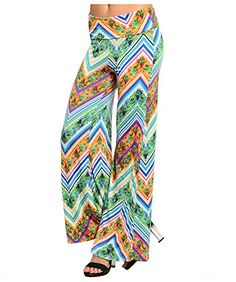 The floral pattern in oranges, greens, and blues is set off by diagonal stripes in tones of blue and purple. Versatile and vibrant! Gaucho, Printed Palazzo Pants, Vibrant Colors, Wide Leg, Chevron, Pajama Pants, Stripes, Legs, Chic