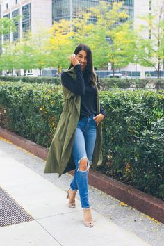 olive green sleeveless trench vest More