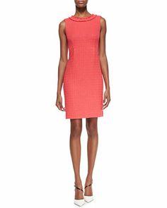 terri sleeveless fringe-collar sheath dress, geranium by kate spade new york at Neiman Marcus. Gorgeous color.
