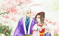 Cute Anime Chibi, Anime Love, Couple Painting, Fantasy Drawings, Peach Blossoms, Ancient China, Chinese Art, Fantasy Characters, Asian Art