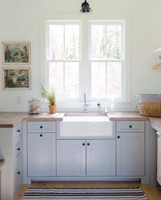 The Cottage Journal ( Kitchen Basin, Blue Kitchen Cabinets, Kitchen Dining, Cottage Design, House Design, Laundry Room Sink, Mini Kitchen, Journal, Home Kitchens