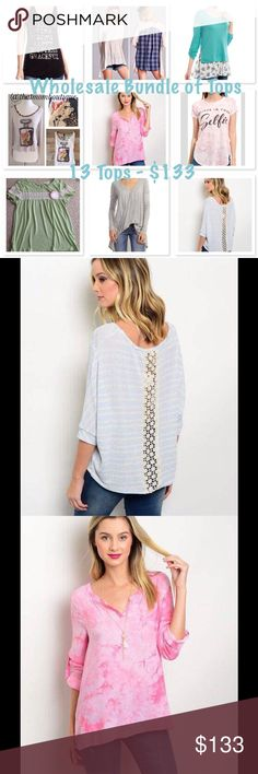 Wholesale Bundle of 13 Tops Closing the boutique/wholesale closet. I have my retail license & were purchased by me.  Items ranged from 10-22 wholesale so your getting a deal! $10 per piece. Sizes and Quantities listed below...Blue crochet back top: small Believe In Your Selfie: Small x2, Large x1 Gray Hoodie Tunic: small Green Crochet stripe top: small Amazing Mother tank: Large Pink blouse: small Aqua Layered Tunic: Medium x2 Tan top with Navy checked back: large Love Potion Top, leopard…