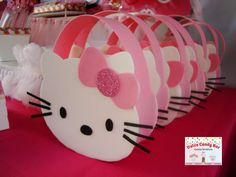 Cute favor bags at a Hello Kitty birthday party! See more party planning ideas at CatchMyParty.com!