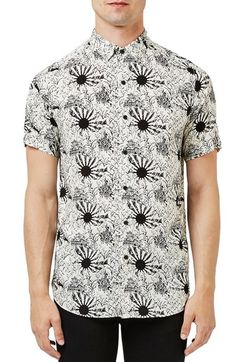 Topman Trim Fit Sun Print Short Sleeve Woven Shirt available at #Nordstrom