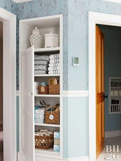 Towels, sheets, and blankets are necessities but can be a headache to organize. Keep your linen closet in tip-top shape with a few organizing tools. Use shelf dividers to create cubbies on ms such as bulky co Cubbies, Closet Shelves, Closet Storage, Bathroom Closet Organization, Linen Closet Organization, Organization Ideas, Storage Ideas, Bathroom Storage, Organized Bathroom