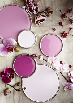 shades of orchid // Would be Lovely in a bathroom or powder room. Or even a laundry room!