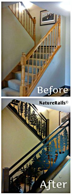 Update your staircase and you will update your whole house! Add powder coated steel railings that will always look fantastic in the color and design of your choosing.  Visit www.NatureRails.com for more photos of customer installations.