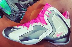 Nike Lil' Penny Posite- Wolf Grey, White, and Hyper Pink