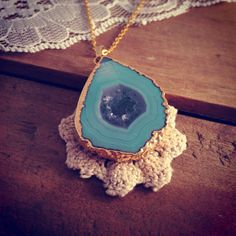 1pc Teal Blue Geode Agate Necklace Pendant 24K Gold Plated Pendant Gemstone Gold Pendant jewelry supplies Gold CHAIN INCLUDED on Etsy, $19.99