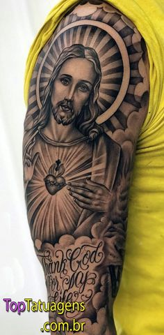 Jesus Tattoos - Tons of Jesus Tattoo Designs & Ideas - Tattoo Me Now Jesus Tattoo Sleeve, Religious Tattoo Sleeves, Chicano Tattoos Sleeve, Forearm Tattoos, Jesus Hand Tattoo, Men Tattoo Sleeves, Religious Tattoos For Men, Half Sleeve Tattoos For Guys, Best Sleeve Tattoos