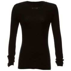 Rag & Bone Classic Thermal T Shirt (£47) ❤ liked on Polyvore featuring tops, t-shirts, shirts, long sleeves, sweaters, black, long sleeve crew neck tee, long-sleeve shirt, crewneck t shirt and crew t shirts