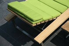 Extra-large single lounger with Stamskin by Serge Ferrari covered mattress over recycled teak and stainless steel frame.