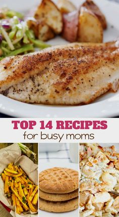 The top 14 recipes for busy moms! from main dishes to desserts and everything in between Top 14, Quick Dinner Recipes, Quick Meals, Weeknight Meals, Summer Recipes, Easy Recipes, Crockpot, Banana Split Dessert, Ginger Benefits