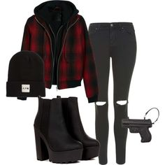 27032015_02 by vicki-shiu on Polyvore featuring R13, Topshop, Vlieger & Vandam, A.P.C., black, Boots, beanie, blackandred and guns