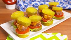 Pickle Sliders  - Delish.com; Use parmesan cheese instead of bread crumbs and skip the ketchup.  Great for a potluck or family event!