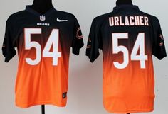 Nike Chicago Bears #54 Brian Urlacher Blue/Orange Fadeaway Elite Jersey