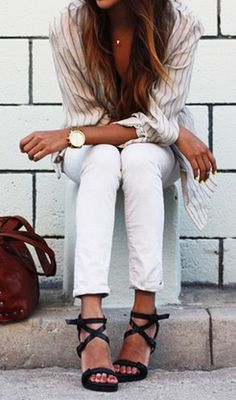 Summer Classic - Shirt -White skinny jeans - Strappy sandals