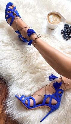 "Aquazzura ~ ""Mirage"" Cobalt Suede Lace-up Sandals. V"
