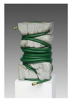 "We know some of you will get a kick out of this art piece like we did! Jeff Muhs 'The Gardeners Dilemma' Concrete and garden hose x 12 "" x 22 "" . Concrete Sculpture, Concrete Art, Art Sculpture, Abstract Sculpture, Plaster Sculpture, Wire Sculptures, Ceramic Sculptures, Bronze Sculpture, Contemporary Sculpture"