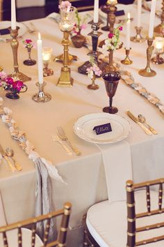 elegant tablescape, photo by Amy Nicole Photography http://ruffledblog.com/bohemian-luxe-winter-wedding #tablescape #wedding #reception