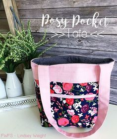 Fort Worth Fabric Studio: Posy Pocket Tote Tutorial