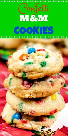 These fun, colorful, festive Confetti M&M Cookies are as sweet and delicious as they are pretty, yet very easy to make! These cookies are a fun way to get the kids involved in baking cookies for the holidays! Best Dessert Recipes, Sweet Desserts, Sweet Recipes, Delicious Desserts, Yummy Recipes, M M Cookies, Baking Cookies, Spritz Cookie Recipe, Cookie Recipes