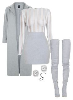"""winter grey"" by styledbystephxx on Polyvore featuring New Look, Balmain, Bloomingdale's, grey and balmain"