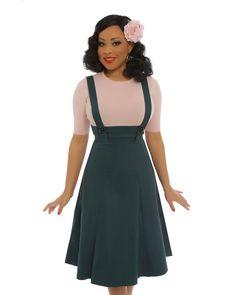 481bb1b6d6cc  Pixie  Teal High Waist Dungaree Swing Skirt Dungaree Skirt