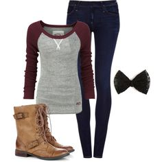 Burgundy baseball Tshirt, jeans, combat boots, black lace bow.