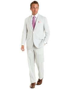 Brooks Brothers Seersucker Suit White Outfit For Men, Brothers Clothing, Kinds Of Clothes, Men Clothes, Canvas Duffle Bag, Leather Flip Flops, Fitted Dress Shirts, Groom Style, Boutique