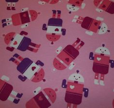 Snuggle Flannel Fabric-Robots Pink