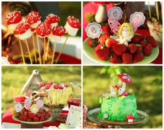 mushroom marshmallow pops:  marshmallows on a stick, dipped in red candy melts with white sprinkles (woodland party)