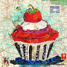"""Collage Cupcake Painting ~ """"Dear Friends"""" ~  Mixed Media Painted Paper Collage by Texas Daily Painter Nancy Standlee"""