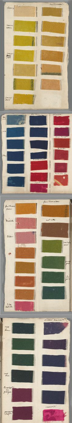 """Samples of dyed felt included with the manuscript """"De la teinture des laines,"""" ca. 1708-1764.  Most names given to the color samples correspond to the list given in the article on dyeing in the Encyclopédie, where at least 80 different colors are listed for wool. Each was produced with a different dye. fibers of wool, linen or silk were affected differently by the same dyestuffs. Thus, two different dyes were required to achieve the same red in wool and silk.  MIT Exhibition"""
